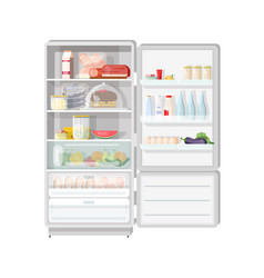 modern opened refrigerator full of various food - vector image