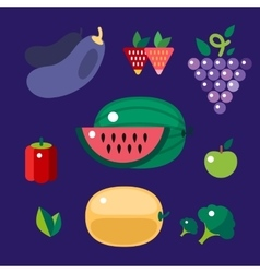 Set of colorful cartoon fruit icons vector image vector image