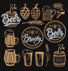 set of elements for beer labels design beer mugs vector image vector image