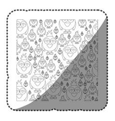 sticker monochrome pattern of caricature bird vector image