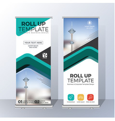 vertical roll up banner template design for vector image vector image