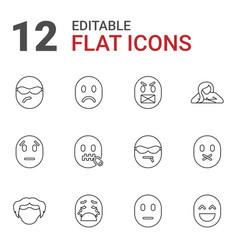12 facial icons vector