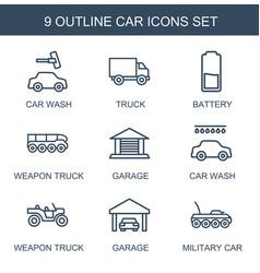 9 car icons vector