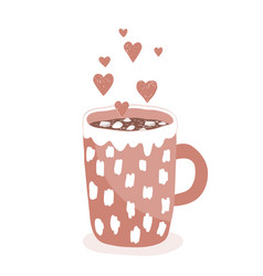 a cup hot cocoa with marshmallows on white vector image