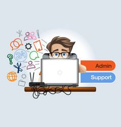 Admin support for clients of enterprises vector