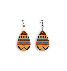 African earrings with tribal decorations jewelry vector