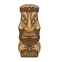 African tiki idol icon cartoon style vector