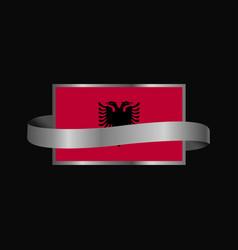 Albania flag ribbon banner design vector