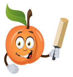 apricot with bat on white background vector image
