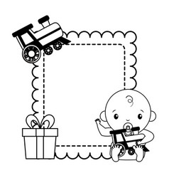 Baboy with train toy gift bashower vector