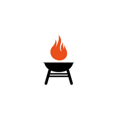 Barbecue grills with fire logo vector