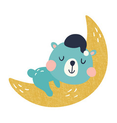 Bear moon vector
