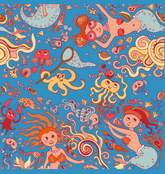 beautiful blue seamless pattern with mermaid vector image
