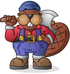 Beaver lumberjack cartoon character vector