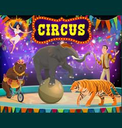 Big top circus show tamer animals and gymnast vector