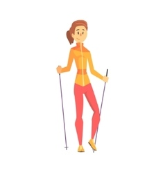 Blond Girl With Ponytail Doing Nordic Walk vector