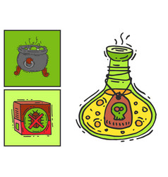 Bottle with potion game magic glass cards elixir vector