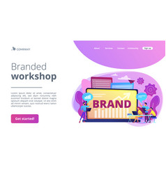 Branded workshop concept landing page vector