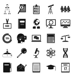 Business college icons set simple style vector