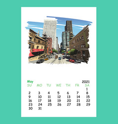 Calendar sheet san francisco may month 2021 year vector