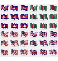 Cambodia bangladesh usa united kingdom set of 36 vector