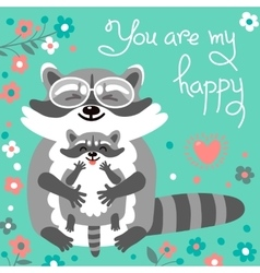 Card with cute raccoons and a declaration of love vector