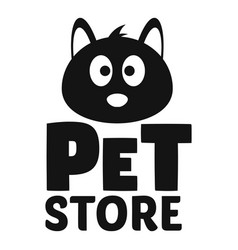 cat pet store logo simple style vector image