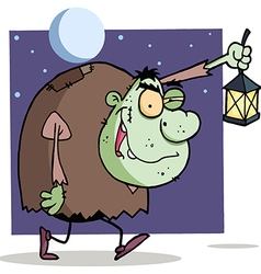 Character Halloween Igor With Lantern vector image