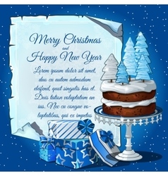 Christmas cake with snow tree gift boxes vector image