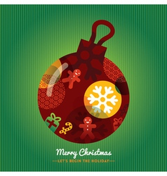 Christmas Ornament with lettering Green background vector image
