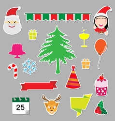 Christmas stickers icons vector image