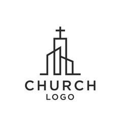 Church christian line art logo design vector