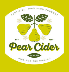 cider pear label vector image