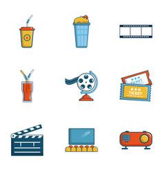 Cinema entrance icons set cartoon style vector
