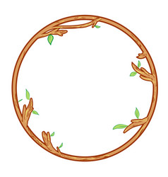 circular wooden frame isolate on white background vector image