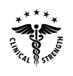 Clinical strength tested approved badge vector