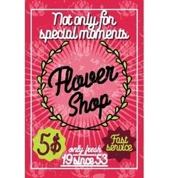 Color vintage flower shop poster vector image