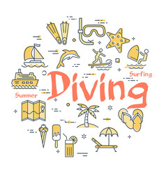 colorful icons in under water diving theme vector image