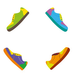 colorful shoes with creative bright color pallet vector image