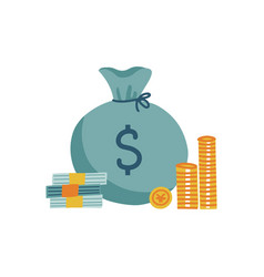 concept cash money bag stack coins and vector image