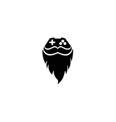console gamer and beard mustache face icon vector image