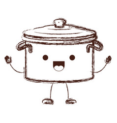 Cooking pot with lid cartoon in brown blurred vector