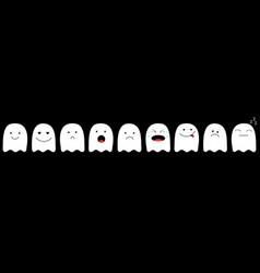 cute ghost emoji icon set happy halloween vector image