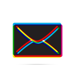 e-mail icon with shadow vector image