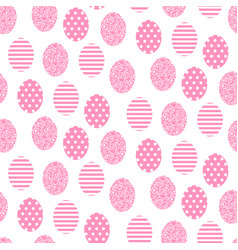 Easter pink and white cute egg seamless pattern vector