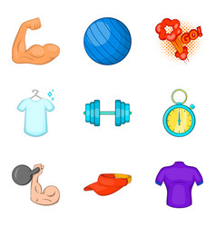 exercise icons set cartoon style vector image