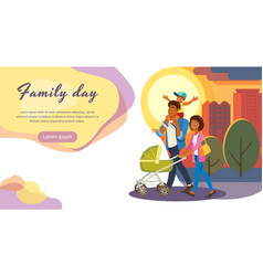 Family day out cartoon landing page vector