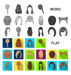 female hairstyle flat icons in set collection for vector image