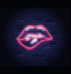Female pink lips neon vector
