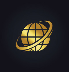 globe planet technology gold logo vector image